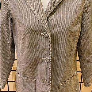 🌟 LIZ CLAIBORNE Blue/White Striped Cotton Jacket